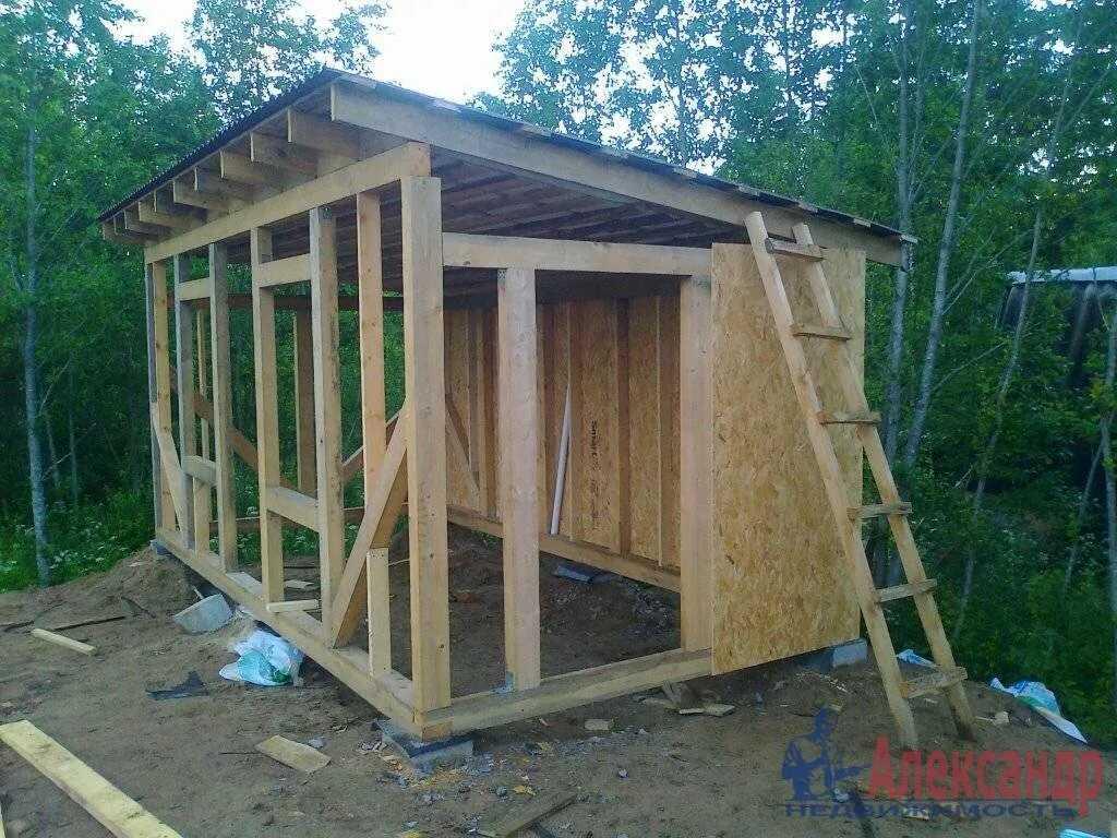 Как построить сарай на даче с односкатной крышей: чертеж, фото, видео