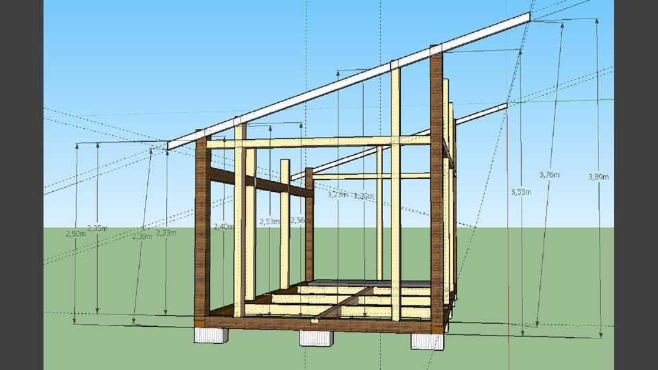 Как построить каркасный сарай с односкатной крышей своими руками